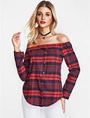 voordelige Damesblouses-Dames Street chic Overhemd Ruitjes Schouderafhangend