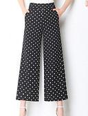 ieftine Pantaloni de Damă-Pentru femei De Bază Picior Larg Pantaloni - Buline Talie Înaltă Negru