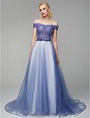 זול שמלות ערב-נשף סירה מתחת לכתפיים שובל סוויפ \ בראש טול ערב רישמי שמלה עם חרוזים / נצנצים על ידי TS Couture®