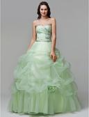 hesapli Gece Elbiseleri-Prenses Kalp Yaka Yere Kadar Organze Kristal Detaylar / Çiçekli / Pileler ile Resmi Akşam Elbise tarafından TS Couture® / Eski Tiplerden Esinlenilmiş