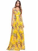 baratos Vestidos de Mulher-Mulheres Chifon Vestido Floral Longo