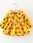 levne Dětské bundičky a kabátky-Dítě Dívčí Aktivní Květinový Dlouhý rukáv Bavlna Šaty Světlá růžová / Toddler