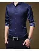 זול חולצות לגברים-אחיד / פסים רזה עסקים / בסיסי מידות גדולות כותנה, חולצה - בגדי ריקוד גברים / שרוול ארוך