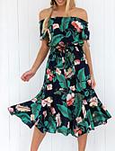 זול שמלות נשים-שחור ולבן מקסי קפלים, אחיד - שמלה ישרה כותנה שרוול נפוח מידות גדולות וינטאג' בגדי ריקוד נשים