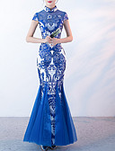 abordables Camisas para Mujer-Mujer Delgado Pantalones Estampado Azul Piscina / Fiesta / Maxi / Escote Chino
