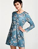 זול חולצה-מותניים גבוהים מעל הברך פרחוני - שמלה סווינג משי בגדי ריקוד נשים / סתיו / דפוסי פרחים