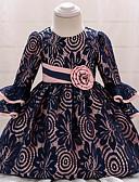 Χαμηλού Κόστους Φορέματα για κορίτσια-Μωρό Κοριτσίστικα Βίντατζ Εξόδου / Γενέθλια Μονόχρωμο 3/4 Μήκος Μανικιού Ως το Γόνατο Βαμβάκι / Πολυεστέρας Φόρεμα Βαθυγάλαζο