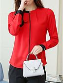 ieftine Bluză-bluza pentru femei - bloc de culoare / gât rotund solid colorat