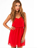 billige Trendy og farverige chiffontørklæder-Dame Chiffon Kjole - Ensfarvet Over knæet