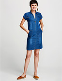 cheap Women's Dresses-Women's Plus Size Basic Cotton Denim Dress - Solid Colored V Neck / Spring