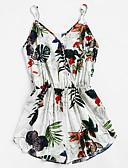 ieftine Salopete Damă-Pentru femei Floral Ieșire / Plajă Cu Bretele Alb Picior Larg Salopete, Floral M L XL Fără manșon