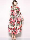 cheap Women's Dresses-Women's Holiday / Going out Boho / Street chic Maxi Swing Dress - Floral Print Spring Pink L XL XXL