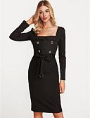 رخيصةأون فساتين للنساء-أسود فوق الركبة رقبة U سادة - فستان ضيق قطن للمرأة