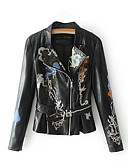 cheap Women's Leather Jackets-Women's Going out Leather Jacket - Solid Colored Stand