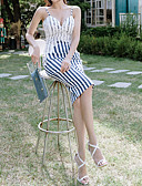 cheap Women's Dresses-Women's Street chic Shift Dress - Geometric Blue & White, Lace / Print