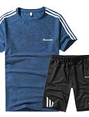 זול טישרטים לגופיות לגברים-אחיד צווארון עגול כותנה, טישרט - בגדי ריקוד גברים / שרוולים קצרים