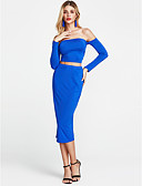 cheap Women's Dresses-Women's Club Flare Sleeve Bodycon Dress - Solid Colored Backless / Cut Out Off Shoulder / Lace up / Skinny