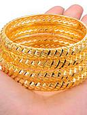 cheap Women's Nightwear-Women's Sculpture Bracelet Bangles Cuff Bracelet - Gold Plated Ethnic Bracelet Gold / Yellow For Party Gift / 4pcs