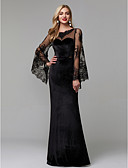 cheap Evening Dresses-Sheath / Column Illusion Neck Floor Length Lace / Velvet See Through Formal Evening Dress with Lace Insert by TS Couture® / Illusion Sleeve