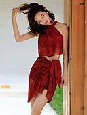 povoljno Bikini i kupaći 2017-Žene S naramenicama Bikini - Jednobojni / Cvjetni print, Cheeky gaćice Čipka
