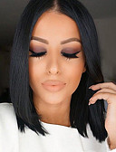 cheap Women's Dresses-Human Hair Lace Front Wig Brazilian Hair Straight Wig Bob Haircut / Middle Part / Free Part 130% Natural Hairline Natural Black Women's Short / Medium Length Human Hair Lace Wig