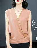olcso nadrág-V-alakú Női Blúz - Egyszínű