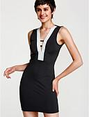 tanie Sukienki-Damskie Kij Seksowny Rurki Bodycon Sukienka - Solidne kolory, Odkryte plecy Głęboki dekolt w serek Mini Czarny / Lato
