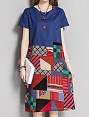 billige Kjoler-Dame Plusstørrelser I-byen-tøj Vintage Gade Løstsiddende Skift Kjole - Geometrisk Farveblok, Trykt mønster Midi Høj Talje
