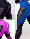 cheap Men's Tees & Tank Tops-Women's Patchwork Yoga Pants - Black, Blue, Fuchsia Sports Sexy Mesh Tights / Leggings Exercise & Fitness, Running, Gym Activewear Quick Dry, Breathable, Butt Lift High Elasticity