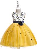 preiswerte Kleider für Mädchen-Kinder Mädchen Retro / Grundlegend Party / Geburtstag Patchwork Spitze Ärmellos Knielang Baumwolle / Polyester Kleid Gelb