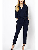 cheap Fashion Headpieces-women's jumpsuit - solid colored v neck