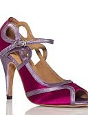 رخيصةأون فساتين للعمل-للمرأة أحذية رقص ستان سينكرز ترتر نحيفة عالية الكعب أحذية الرقص أبيض / فوشيا