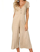 cheap Women's Jumpsuits & Rompers-women's going out jumpsuit - solid colored deep v