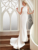 cheap Wedding Dresses-Sheath / Column Halter Neck Court Train Chiffon / Satin Made-To-Measure Wedding Dresses with by LAN TING BRIDE® / Open Back / Royal Style
