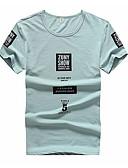 baratos Camisetas & Regatas Masculinas-Homens Tamanhos Grandes Camiseta Letra Algodão Decote Redondo / Manga Curta