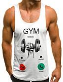 hesapli Erkek Tişörtleri ve Atletleri-Erkek Pamuklu İnce - Kısa Paltolar Desen, Grafik / Harf Temel Spor / Kumsal Beyaz / Kolsuz