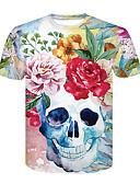 baratos Camisetas & Regatas Masculinas-Homens Camiseta Básico / Moda de Rua Estampado, Floral / Estampa Colorida / Caveiras
