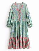 baratos Vestidos de Mulher-Mulheres Praia Chifon Vestido Decote V Médio