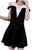 זול 2017ביקיני ובגדי ים-צווארון V מעל הברך שמלה גזרת A רזה כותנה ליציאה בגדי ריקוד נשים