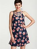 זול שמלות מודפסות-U עמוק מותניים גבוהים מעל הברך דפוס, פרחוני - שמלה גזרת A רזה כותנה בוהו בגדי ריקוד נשים / אביב / קיץ / דפוסי פרחים