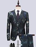 ieftine Blazer & Costume de Bărbați-Bărbați Petrecere / Club Primăvara & toamnă Regular Costume, Floral Rever Clasic Manșon Lung Celofibră / Spandex Trifoi XXXXL / XXXXXL / XXXXXXL / Ocazional afaceri / Zvelt