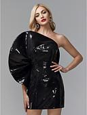 זול תחרה רומטנית-מעטפת \ עמוד כתפיה אחת קצר \ מיני נצנצים סגנון של מפורסמים מסיבת קוקטייל / ערב רישמי שמלה עם נצנצים על ידי TS Couture®