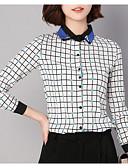 economico Camicie da donna-Camicia Per donna Ufficio A scacchi Colletto Blu L