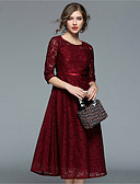 cheap Romantic Lace Dresses-Women's Vintage / Sophisticated Swing Dress - Solid Colored / Geometric Lace / Cut Out / Ruched