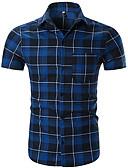 baratos Camisas Masculinas-camisa dos homens - colarinho de camisa xadrez