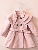 お買い得  女児ジャケット&コート-子供 女の子 ベーシック ソリッド 長袖 ポリエステル トレンチコート ピンク