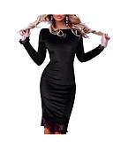 tanie Sukienki-Damskie Podstawowy Bawełna Obcisłe Bodycon Sukienka Koronka / Wycięcia Do kolan / Przed kolano / Lato / Jesień