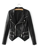 cheap Women's Leather & Faux Leather Jackets-Women's Leather Jacket - Solid Colored Shirt Collar