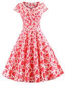 povoljno Ženske haljine-Žene Vintage Swing kroj Haljina - Print, Cvjetni print Do koljena