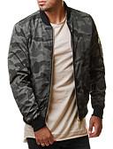 זול גברים-ג'קטים ומעילים-בגדי ריקוד גברים תלתן אפור XXL XXXL 4XL ג'קט מידות גדולות בסיסי להסוות דפוס ספורט / שרוול ארוך